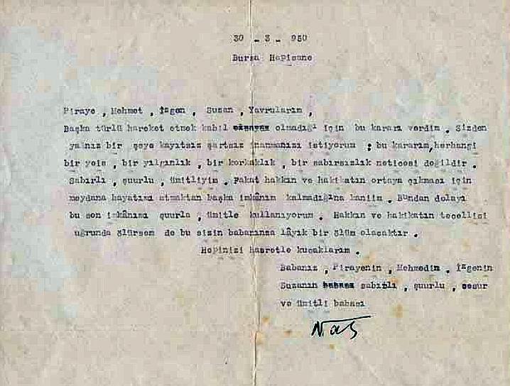 Nazım'ın kararını açıkladığı mektubu