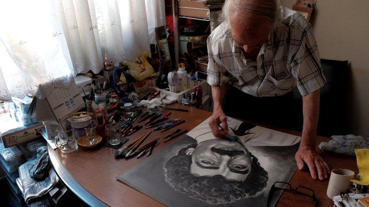 Özçeker'in çizdiği Müslüm Gürses portresi...