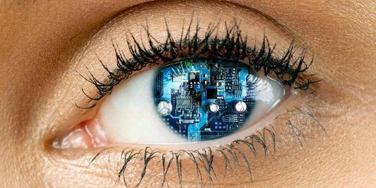 Woman with cyborg eye